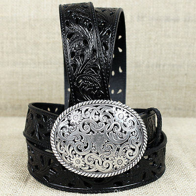 38 inch TONY LAMA BLACK PIERCED FILIGREE TROPHY WESTERN LEATHER LADIES BELT