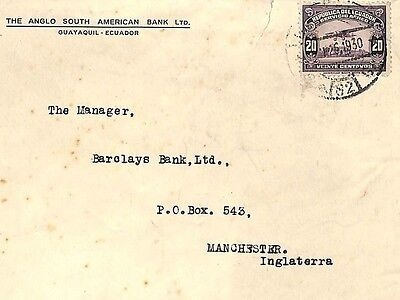 UU434 1930 Ecuador AIRMAIL ISSUE Banking Cover Manchester {samwells-covers}