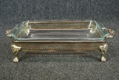 "12.5"" Rectangular Glass Casserole Dish Set In Vintage Silver Plated Footed Tray"