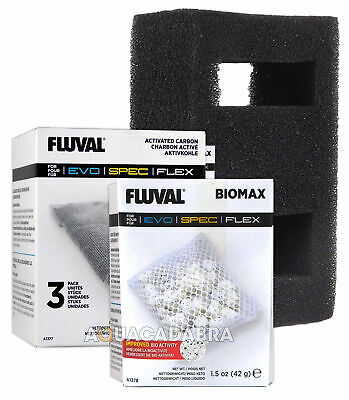 Fluval Flex 57L Media Pack - Biomax A1378 Carbon A1377 & Filter Foam Block A1375