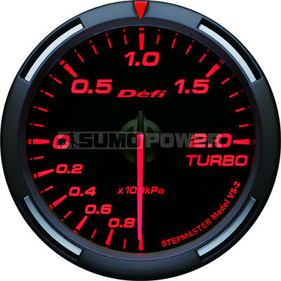 Defi Racer 52mm Car Boost 2 Bar turbo Gauge - Red - Stepper Motor, DF06505