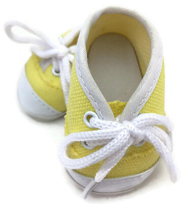 """Yellow Canvas Tennis Shoes Sneakers made for 18"""" American Girl Doll Clothes"""
