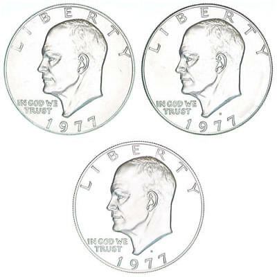 1977 P D S Eisenhower Dollar Year Set Clad Proof & BU US 3 Coin Lot