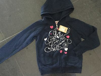 NWT Juicy Couture New & Genuine Girls Age 8 Blue Cotton Hoody With Juicy Logos