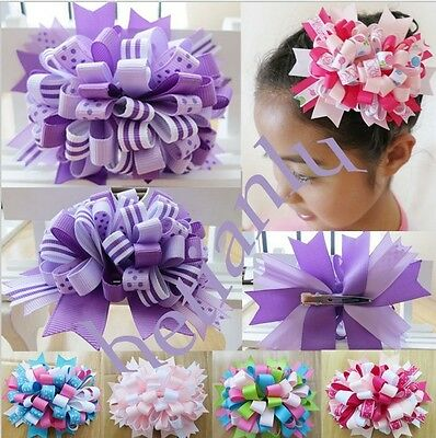 "14 BLESSING Happy Girl Boutique 4.5"" Loopy Puffs Fireworks Hair Bows Clip"