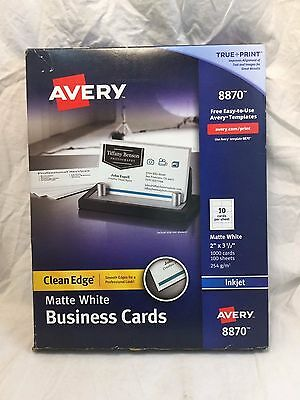 "Avery Clean Edge Business Cards 2"" x 3 1/2"" Matte White - 1000 Cards (8870)"