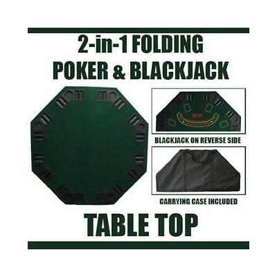 "48"" Green Octagon Folding Poker and Blackjack Table Top"