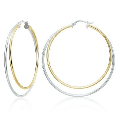 Sterling Silver Two-Tone Double Row Large 48mm Round Hoop Earrings