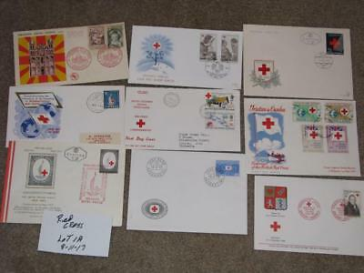 World Wide Red Cross Covers & FDC`s, (9), Lot 1A