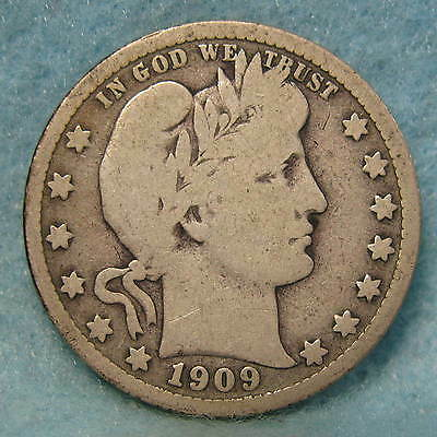 1909-D Barber Silver Quarter VG * Circulated US Coin #1131