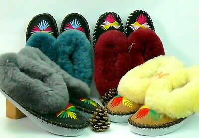 Sheepskin Slippers 100% Genuine  Leather For Ladies Handmade Hand-Embroidered