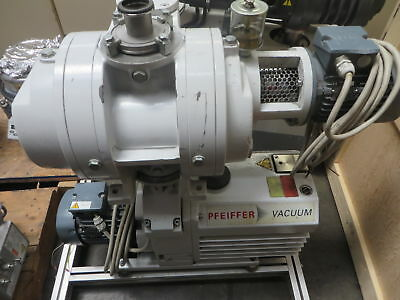 Pfeiffer DUO-65 Rotary Vane Vacuum Pump w/ OKTA-250-A Roots Pump and Motor