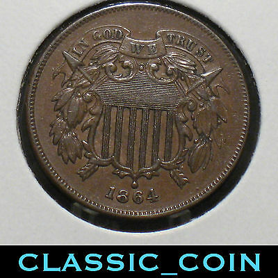 1864 U.s 2¢ Piece Full (We) 153 Years Old Free S/h
