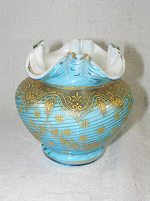 Antique Art Glass Vase - Cased Blue Threaded between White & Clear -Gold Crusted