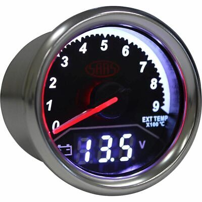 SAAS Trax Gauge - Black Face, 52mm, Dual Exhaust Temperature/Volt Analogue/Di...