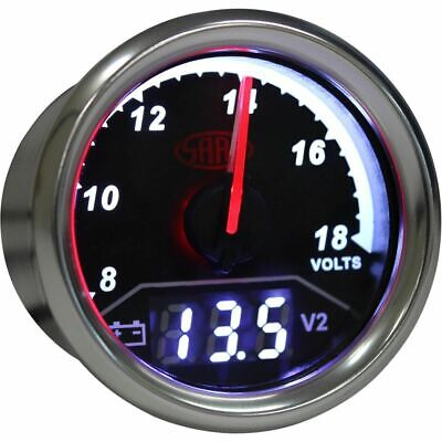SAAS Trax Gauge - Black Face, 52mm, Dual Volt/Volt Analogue/Digital, SG615050
