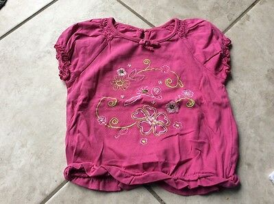 baby girls embroided pink purple tshirt top 18-24 mths
