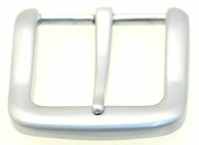 Replacement Belt Buckle Square Single Prong Plain Brushed Nickel Finish 1 1/4""