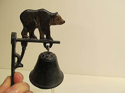 Small Wall Mount Cas Iron Dinner Bell with Bear