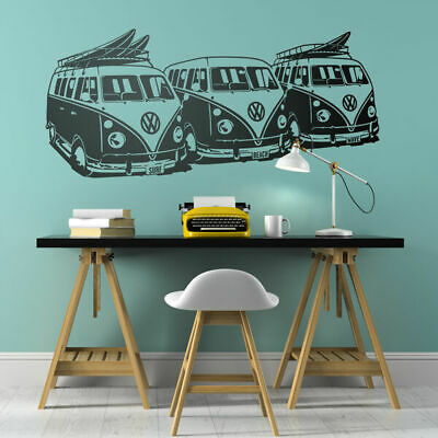 Vintage VW surf Bus wall art decal Surfing home wall Mural decor art