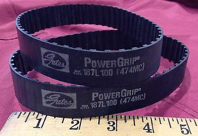 "Gates  Powergrip Belt, 187L100 (474Mc), 18.75"" Length, 50 Teeth, Width 1"""