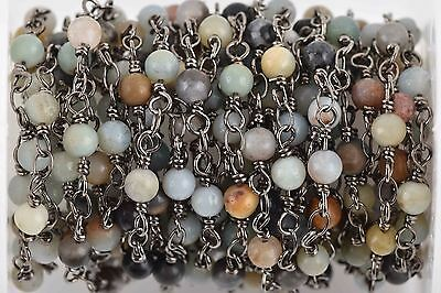 3 feet (1 yard) AMAZONITE GEMSTONE Rosary Chain, gunmetal, 4mm round fch0617a