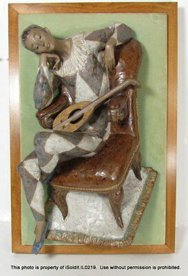 Large LLADRO MOUNTED HARLEQUIN in Chair #12012 3D WALL ART SPAIN Sculpture