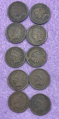 10 Indian Head Penny lot.  1887,1890,1895,1896,1899,1902,1904,1905,1906,1907