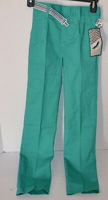 Vtg 80s MAVERICK Blue Bell Girls Straight Leg Skinny PANTS w/ Belt GREEN 10 Slim