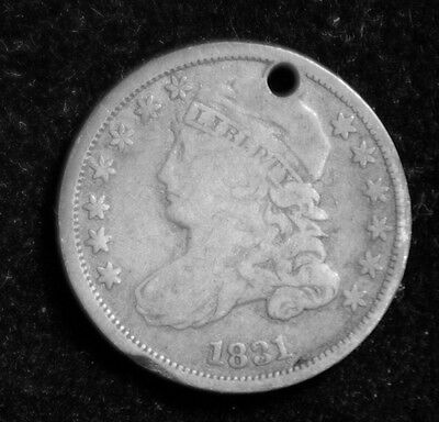 1831 10C Capped Bust Dime damaged, as shown