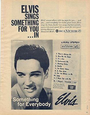 Vintage 1962 Magazine Print Record Ad -  ELVIS PRESLEY Something for Everybody