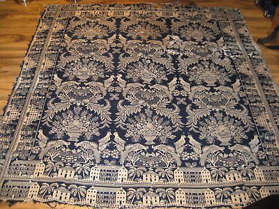 Antique Coverlet Blue & White Early 19th Century