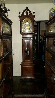 Antique grandfather / tall case Chippendale style clock -- early 1900s