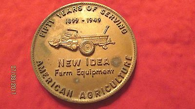 """Large 3"""" Coin Fifty Years 1899-1949 New Idea Farm Equipment American Agriculture"""