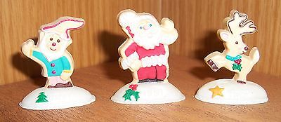 HALLMARK Christmas 1991 (Lot of 3) Cookie Elf/Reindeer/Santa  Merry Miniatures