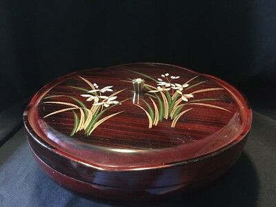 Vintage Japan Laquer Ware Lazy Susan Serving Bowl Hand Painted Flowers