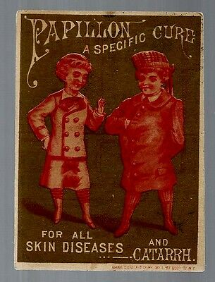 Papillon Cure late 1800's medicine trade card red variation - Omaha, NE