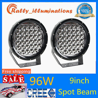 Pair 96W Round 9inch Cree Led Spot Driving Work Light Offroad Truck 4X4WD Bumper