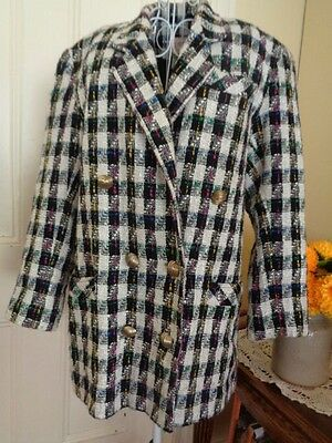 Vintage  Double Breasted Tweed Jacket By Colin Raymond Australia