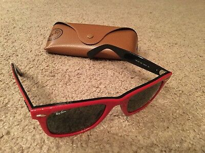 Ray Ban Sunglasses Like New Never Worn With Case Black Red Women's Ladies!