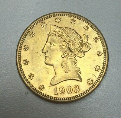 1903-S $10 AU Liberty Head Eagle Beautiful No Problem Gold Coin With Luster