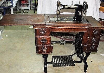 Working White Rotary Treadle Sewing Machine, Cabinet, Cast Iron Legs, 6 Drawers