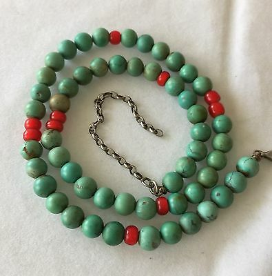 Vintage Antique Chinese Natural Turquoise Beads Necklace & Red Peking Glass