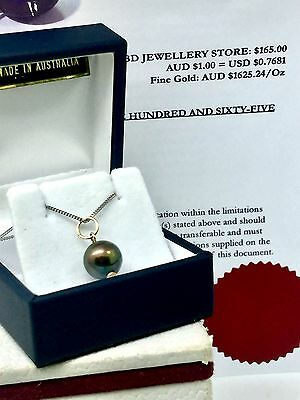 R$165 Genuine Solid 9 Carat 9ct Yellow Gold  BLACK Freshwater Pearl Drop Pendant