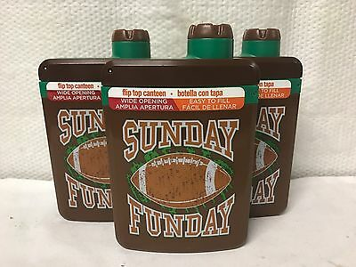 Lot Of 3 ~ Cool Gear Flip Top Canteen Flask Bottle Sunday Funday Easy To Fill