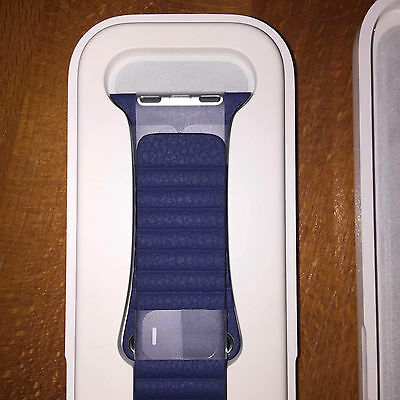 NEW Original Apple Bright Blue Leather LOOP Watch Band 42mm L Discontinued color