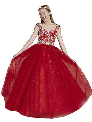 US Stock Size 10 Red Rhinestone Flower Girl Dress Princess Birthday Pageant Gown