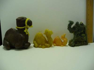 4 Camel Candles 3 Camels Laying 1 Standing Green Black Yellow Tan