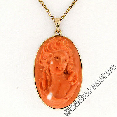 Antique 18K Yellow Gold Large High Relief Carved Coral Cameo Pendant w/ Chain