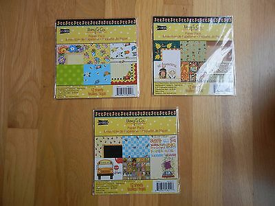 "Mary Engelbreit Scrapbook Paper 6""x 6"" 12 Sheets Each School Fall Cards Lot 3"